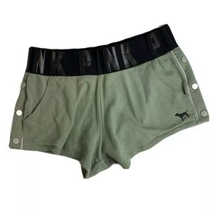 PINK VS Comfy Lounge Shorts Green Pockets Size L